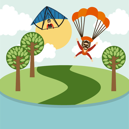 skydiver: parachute fly design.