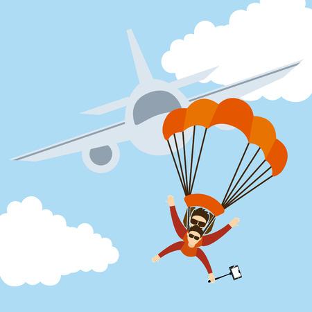 fallschirmj�ger: Fallschirm-fly-Design, Vektor-Illustration eps10 Grafik