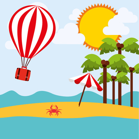 coconut crab: holiday travel design illustration