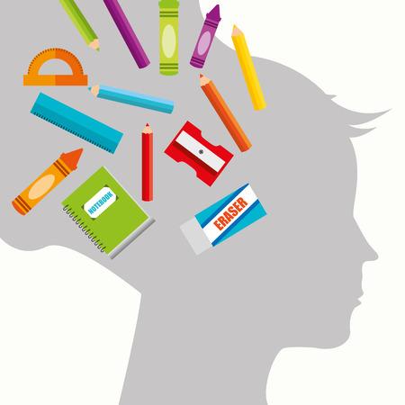 fournitures scolaires: fournitures scolaires conception d'illustration