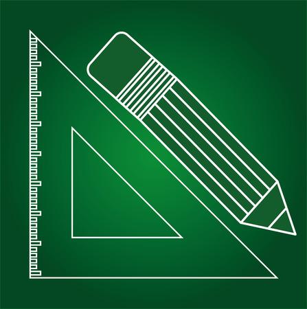 material escolar: útiles escolares diseño ilustración Vectores