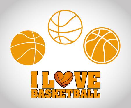 balon de basketball: Amo el baloncesto ilustración, diseño, Vectores