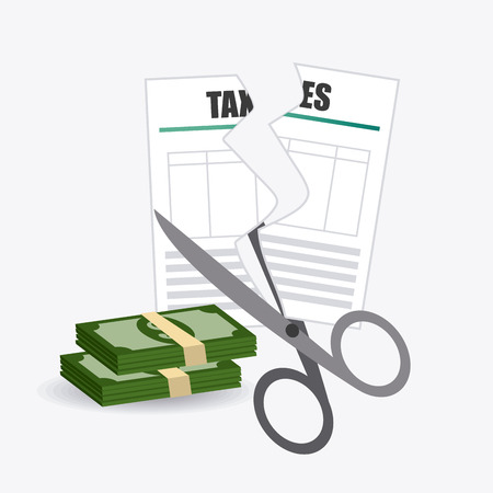 pay cuts: Taxes design over white background