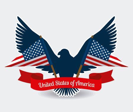 adler silhouette: USA-Design �ber wei�em Hintergrund