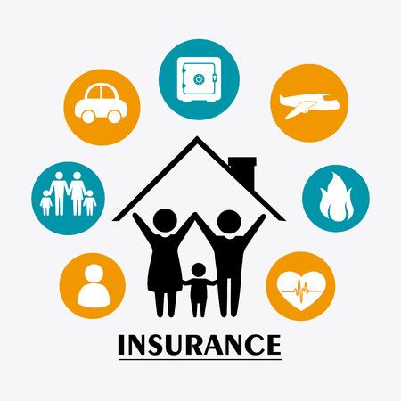 Family Insurance design over white background illustration.