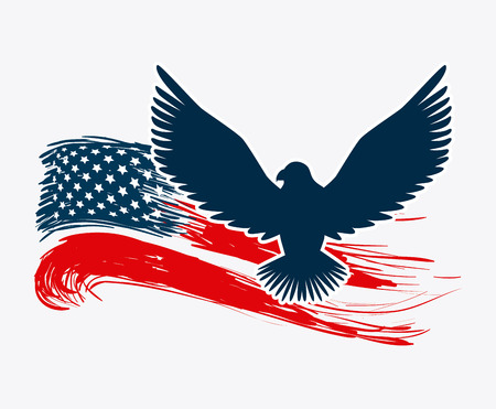 patriotic eagle: USA design over white background