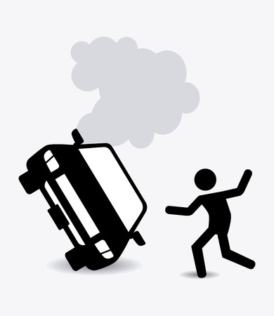 accident car: Insurance design over white background Illustration