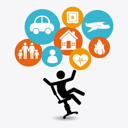 occupational risk: Insurance design over white background Illustration