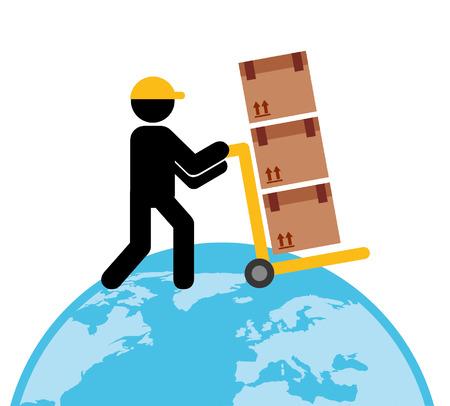 earth moving: delivery service design Illustration