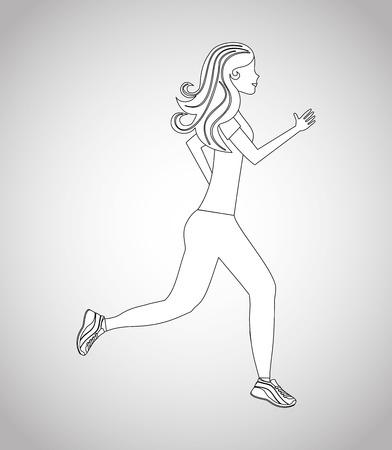 donna che corre: donna disegno esecuzione Vettoriali