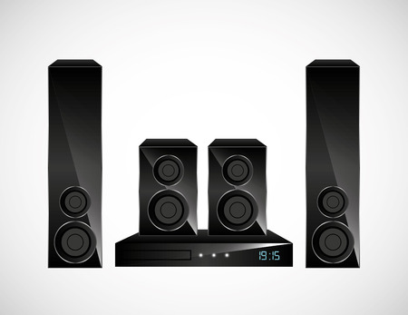 Home theater over with background. Vettoriali