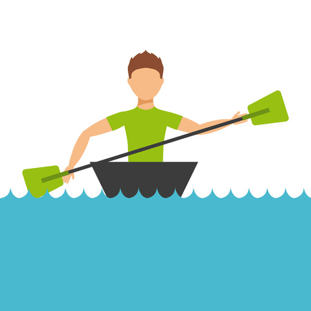 black white kayak: extreme sport design, vector illustration eps10 graphic
