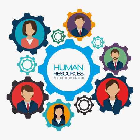 wheel of fortune: Human resources design over white background, vector illustration.