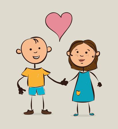 realtionship: Kids design over white background, vector illustration. Illustration