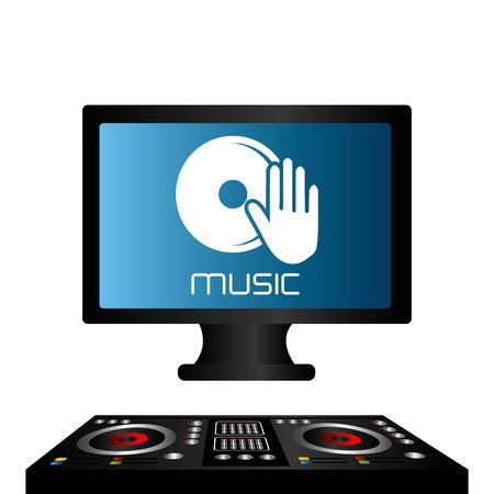 turn table: DJ design over white background, vector illustration.