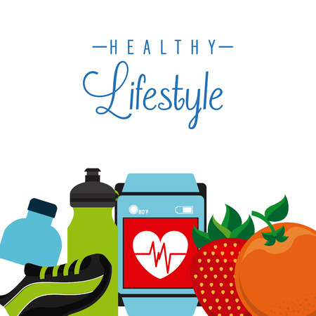 healthy: healthy lifestyle design, vector illustration graphic