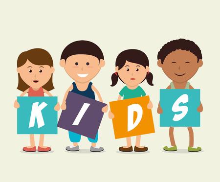 juniors: Kids design over white background, vector illustration. Illustration