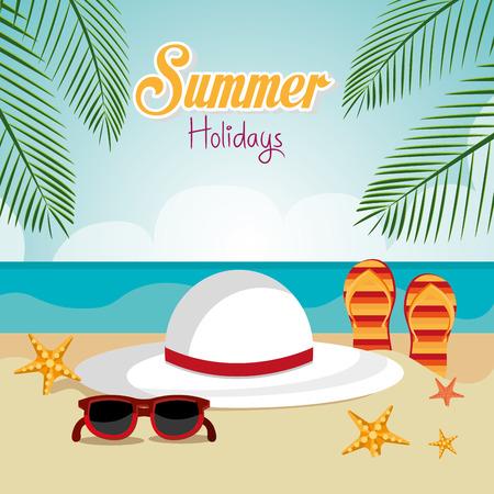 sandal tree: Summer design over beachscape design, vector illustration.