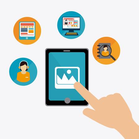 media center: Online Media design over white background, vector illustration.