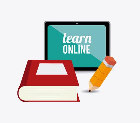 elearning: e-learning design over white background, vector illustration.