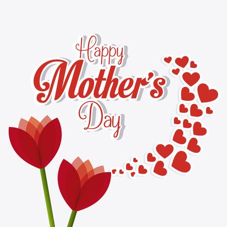 母亲节快乐卡片设计,矢量插图。