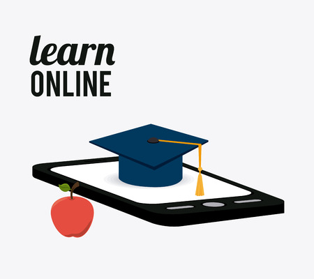 studying computer: e-learning design over white background, vector illustration.