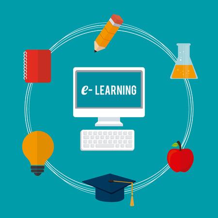 studying computer: e-learning design over blue background, vector illustration. Illustration