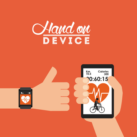 hand on device design, vector illustration eps10 graphic