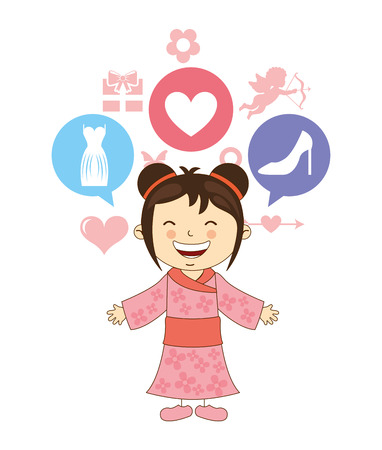 japenese: cute children design, vector illustration eps10 graphic Illustration