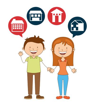 happy couple house: cute couple design, vector illustration eps10 graphic