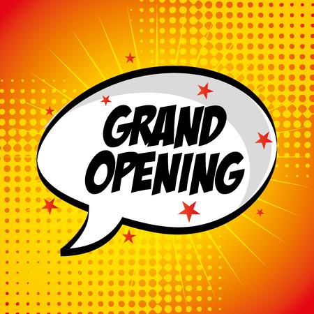 apertura: tienda de diseño de la etiqueta pop art, ilustración vectorial gráfico eps10