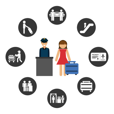 female cop: airport signs design, vector illustration eps10 graphic