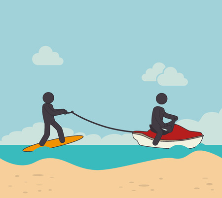 surf team: Extreme sports design over beachscape background, vector illustration.