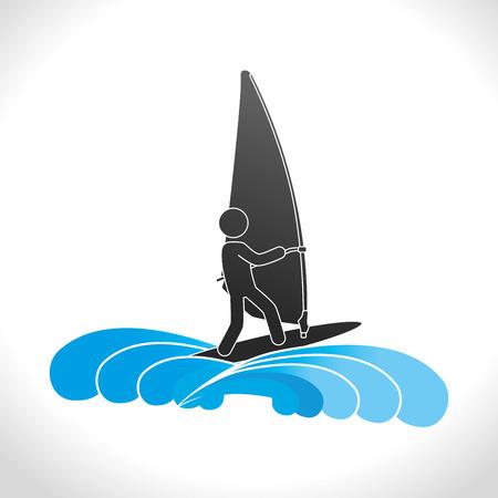 surf team: Extreme sports design over white background, vector illustration.