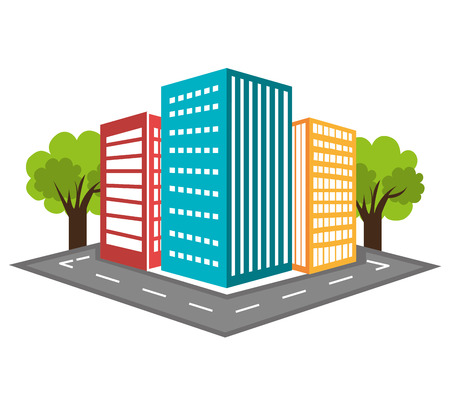 land development: Urban design over white background, vector illustration.