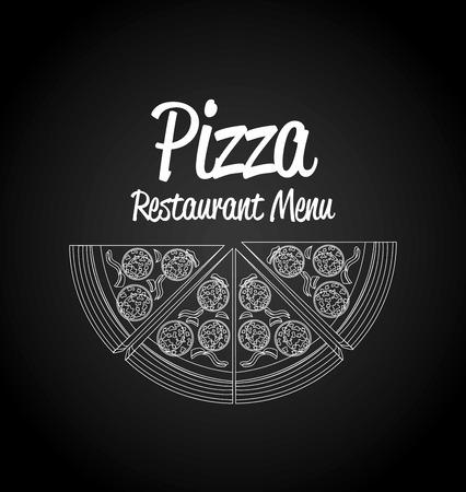 Pizza ontwerp op zwarte achtergrond, vector illustratie. Stockfoto - 38669538