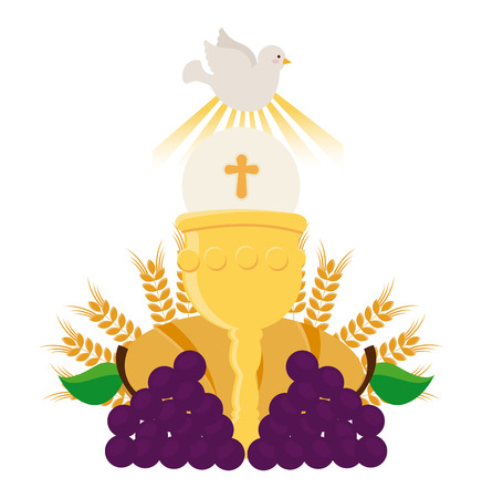 eucharistie: premier mod�le de la communion, illustration graphique eps10