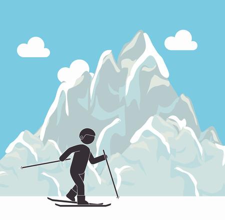 cloudscape: Extreme sports design over cloudscape background, vector illustration.