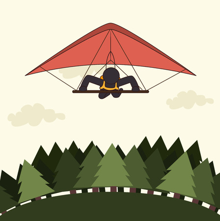 hang gliding: Extreme sports design over white background, vector illustration.