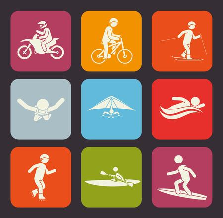 surf team: Extreme sports design over gray background, vector illustration.