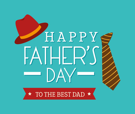 Happy fathers day card  design,vector illustration. Ilustração