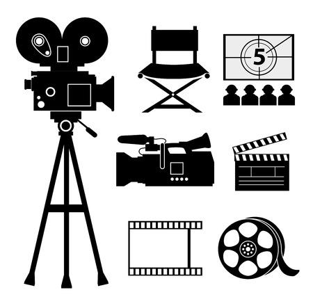 rec: Camera design over white background, vector illustration.