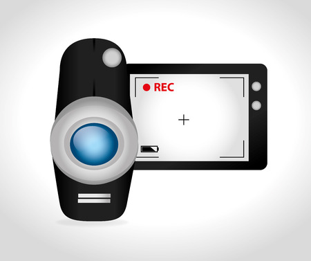 rec: Camera design over white background, vector illustration.