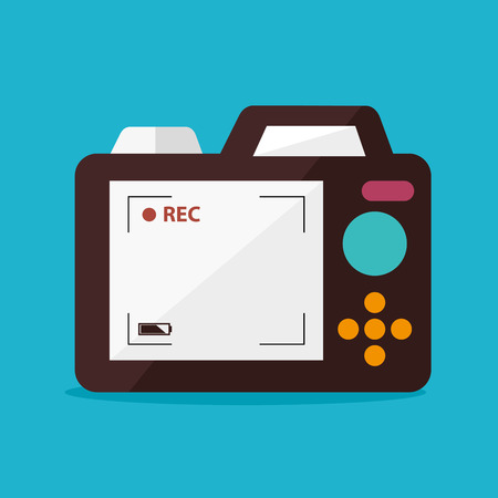 rec: Camera design over blue background, vector illustration.