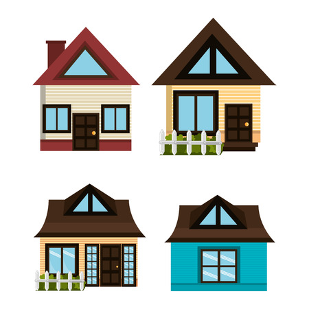 colection: Home design over white background, vector illustration.
