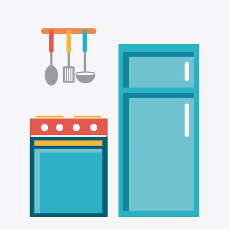 stive: Kitchen design over white background, vector illustration.