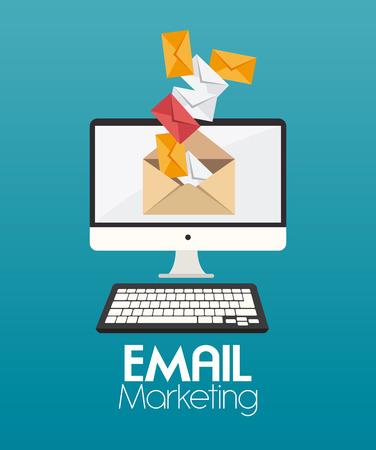 mobile marketing: Marketing design over blue background, vector illustration.