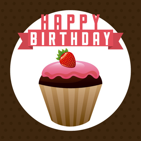 layout strawberry: birthday party design, vector illustration eps10 graphic