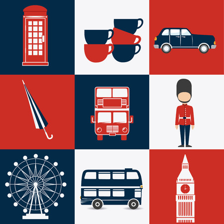 London design over colorful background, vector illustration. Illustration