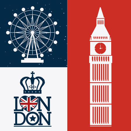 bigben: London design over colorful background, vector illustration. Illustration
